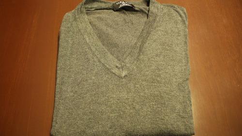 sweater zara hombre (gris, cuello v)