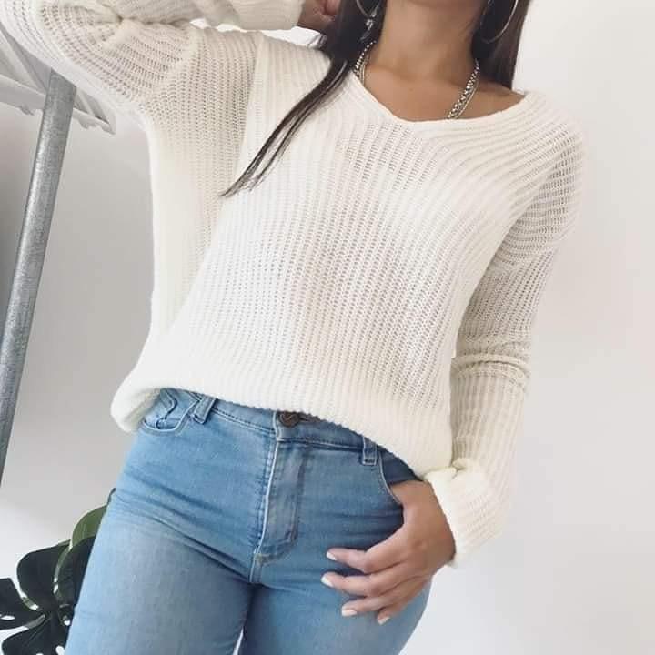 sweaters de lana con lazo atras otoño invierno 2019