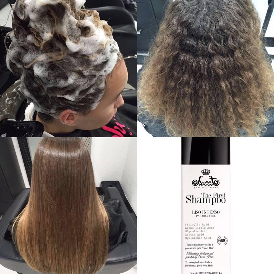 shampoo alisante sweet hair the first 980 ml r 299 00 em mercado livre. Black Bedroom Furniture Sets. Home Design Ideas
