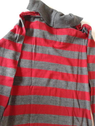 sweter poleron rallado gris y bordo talle 3 impecable!!!