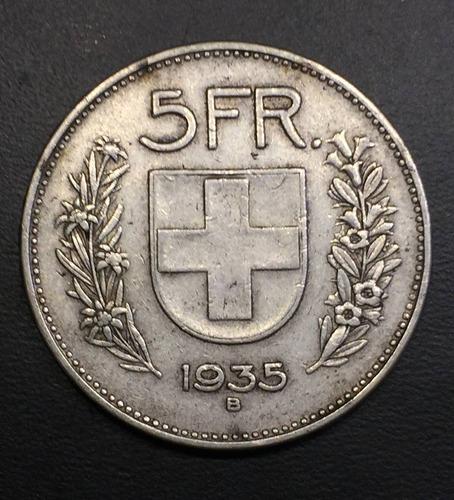 swi158 moneda suiza 5 francs 1935 vf-xf plata ayff