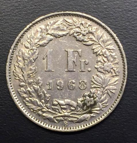 swi228 moneda suiza 1 franc 1968 vf-xf ayff