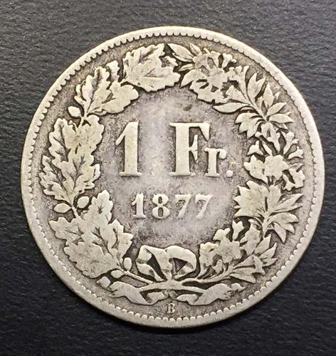swi254 moneda suiza 1 franc 1877 vg plata ayff