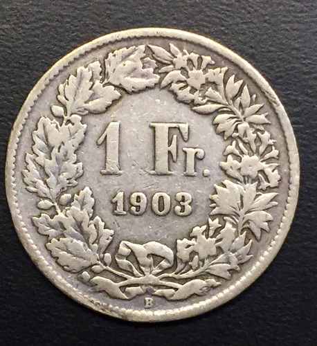 swi255 moneda suiza 1 franc 1903 vg+ plata ayff