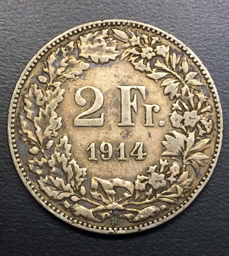 swi277 moneda suiza 2 francs 1914 vf plata ayff