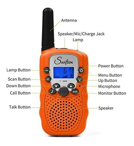 swiftion t-388 niños walkie-talkie 22 canales 05 w frs / gm