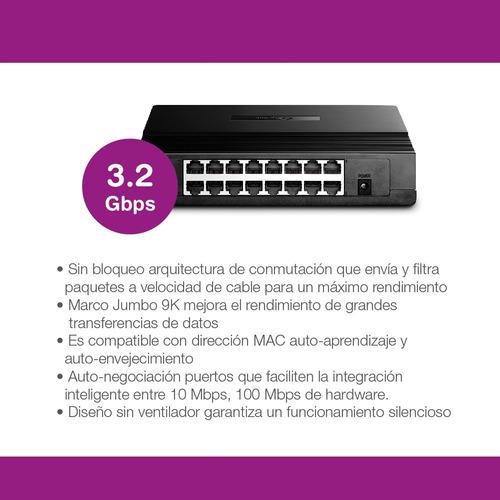 switch 16 bocas tp-link tl-sf1016d 16 puertos 10/100mbps pc