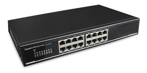 switch 16 puertos ethernet cctv anti descargas cygnus (s116)