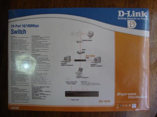 switch 24 port d-link mod. des-1024d, 10/100 mbps