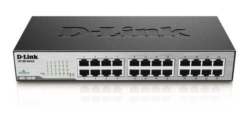 switch 24 portas d-link des-1024d 10/100 para rack qos +  nf