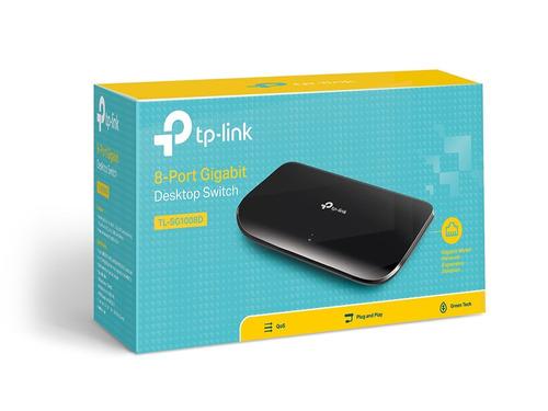 switch 8 portas gigabit tp-link tl-sg1008d 10/100/1000mbp nf