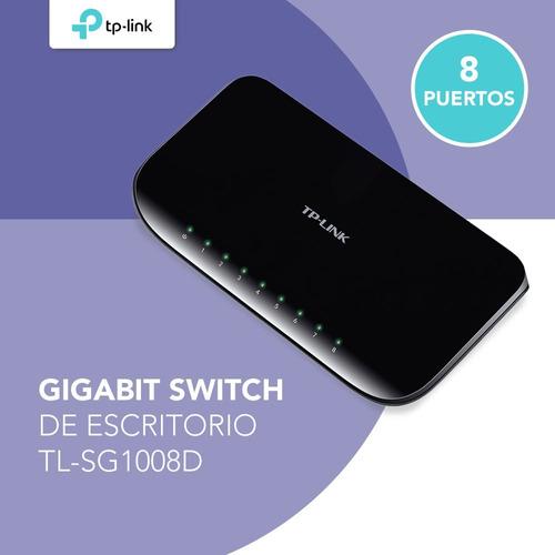 switch 8 puertos tp-link tl-sg1008d gigabit 10/100/1000 pc