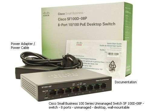switch cisco smb sf100d08p 8 puerto 10/100 con 4 poe 802.3af