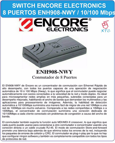 switch encore 8 puertos enh908-nwy 10-100 rj45 red xtc