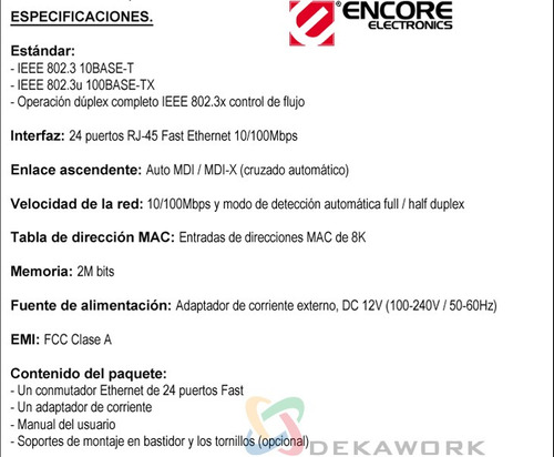 switch encore enh924-cx 24 puertos 10/100 box local en lanus