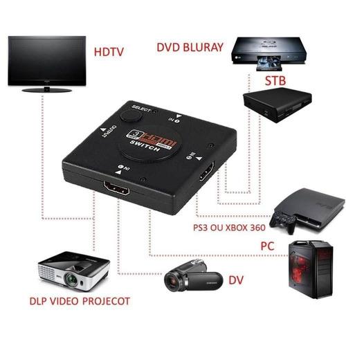 switch hdmi 1x3 divisor 3portas ps3 xbox360 tv tablet bluray