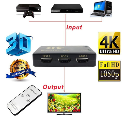 switch hdmi 3 a 1 con control remoto full hd 4k 3d