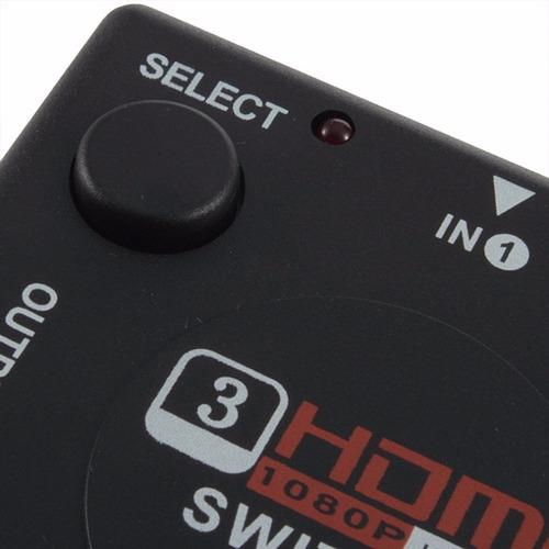 switch hdmi 3 entrada 1 salida hub splitter 1080 ps3 xbox hd
