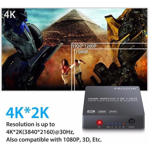 switch hdmi 3 puertos 4k extractor de audio a optico y rca