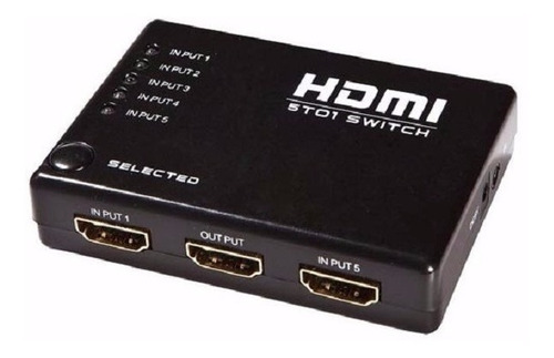 switch hdmi 3d 5 entradas 1 salida 1080p + control remoto ir