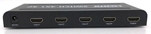 switch hdmi 4x1 1.4 3d com  controle remoto e fonte