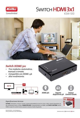 switch hdmi kolke 3x1 control remoto 3d 1.4a