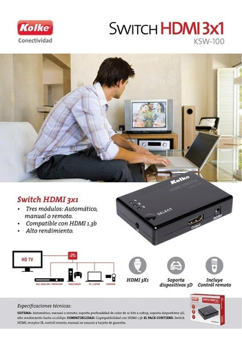switch hdmi selector control remoto full hd 1080p 1.3 3d