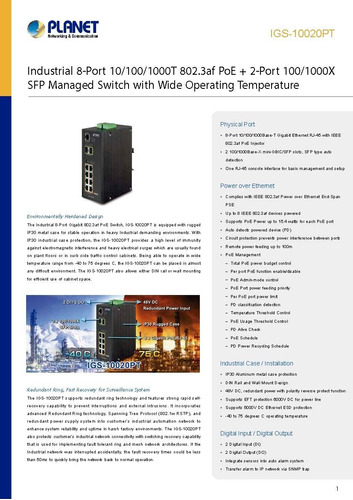 switch industrial 8 portas planet igs-10020pt + fonte 48v