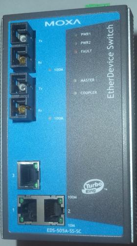 switch industrial moxa 2 puertos de fibra y 3 puertos utp