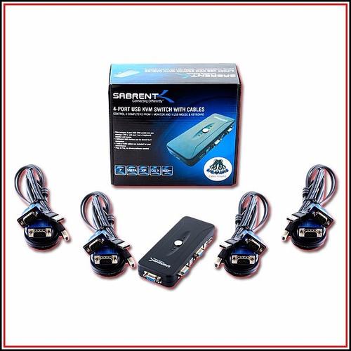 switch kvm sabrent kvm-usb4 4 puertos vga svga 3 impresoras