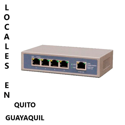 switch poe 4 puertos poe lan 100mbps + 1 puerto red cctv ip
