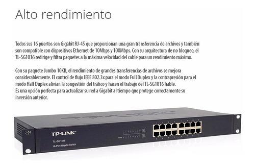 switch rack tp link tl-sg1016d 10/100/1000 16 puertos full