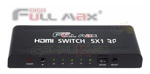 switch selector hdmi 5 x 1 de 5 equipos a 1 tv full hd 3d