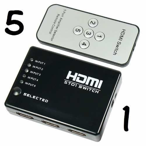 switch selector hdmi entradas 5 a 1 salida control remoto ir
