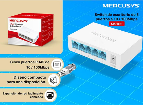 switch suiche 5 puertos mercusys pc rj45 cable hecho tplink