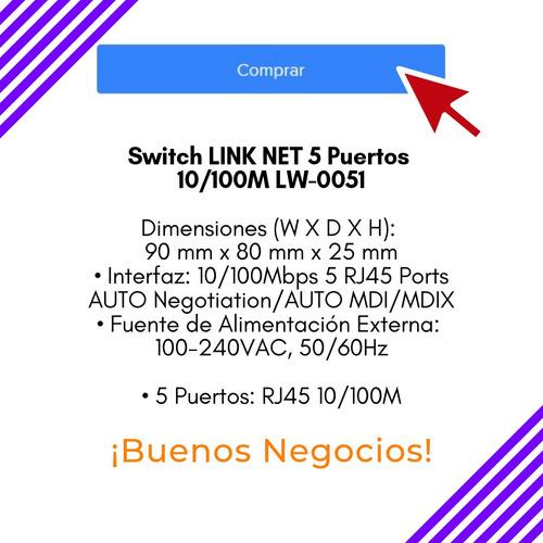 switch suiche de 5 puertos 10/100mbps link net mod: lw-0051