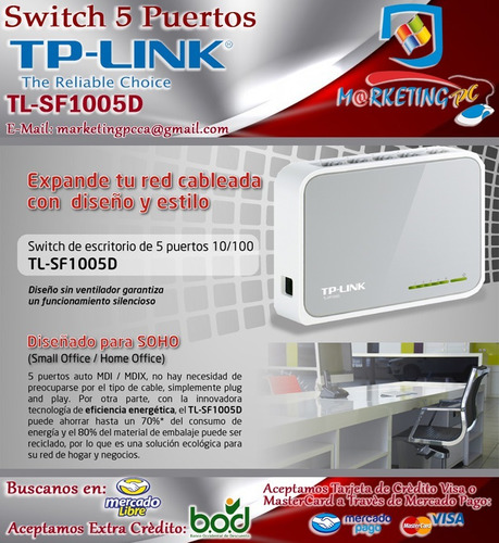switch tp-link tl-sf1005d 5 puertos 10/100 mbps nuevo