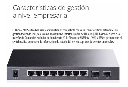 switch tp link tl-sg2210p 8 puertos gigabit poe sfp full