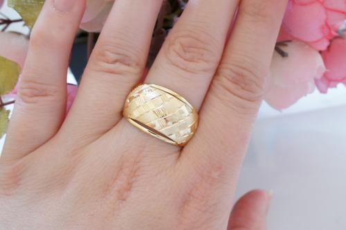 swjoias anel feminino chapa embutido ouro amarelo 18k 750