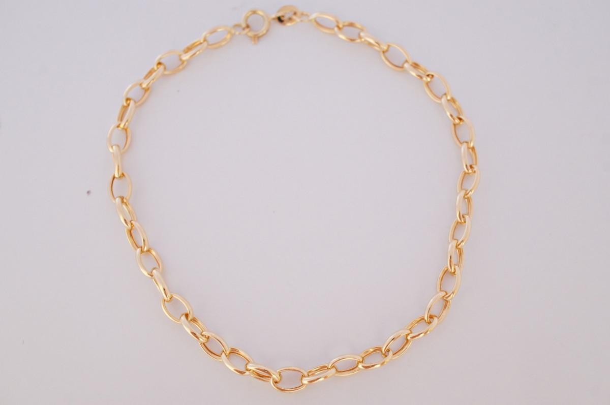 3c8273da6ea swjoias pulseira feminina elo portugues oval oca ouro 18k. Carregando zoom.