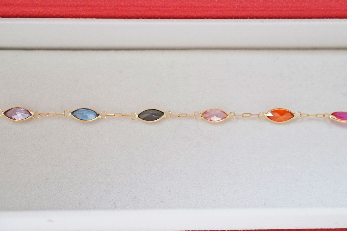 036ac690baaea swjoias pulseira infantil navete pedras coloridas ouro 18k. Carregando zoom.