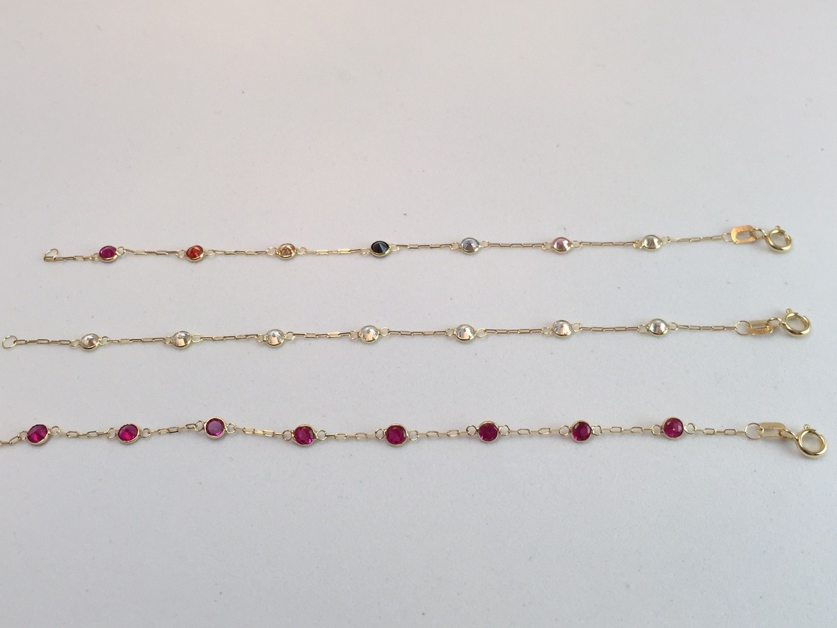 ff537af550d8e swjoias pulseira infantil pedras coloridas zirconia ouro 18k. Carregando  zoom.