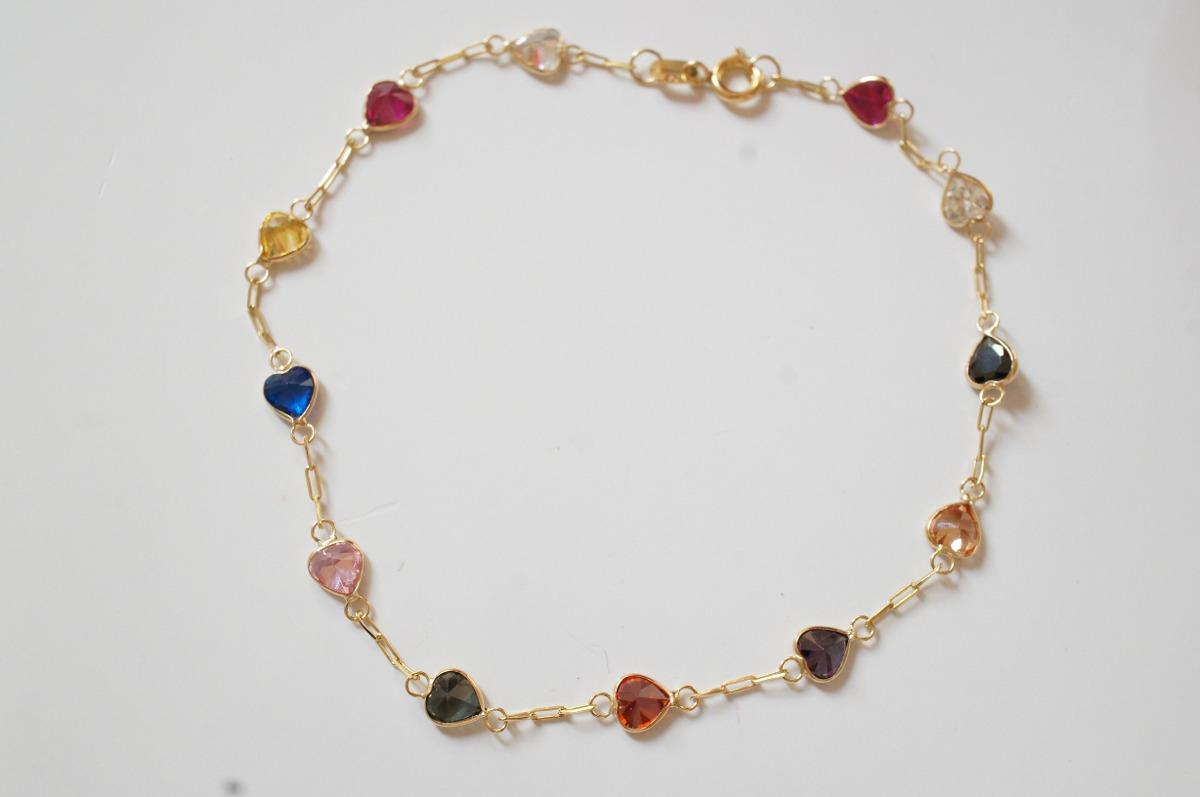 9fd08340ace7b swjoias pulseira pedras coloridas zircônia coração ouro 18k. Carregando  zoom.