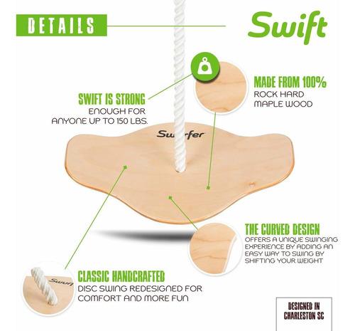 swurfer swift classic madera de arce disco swing para niñ