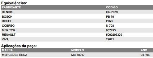 syl-1291 pastilha de freio mercedes mb 150 180
