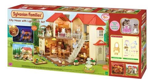 sylvanian families casa de la ciudad con luces gift set 3645