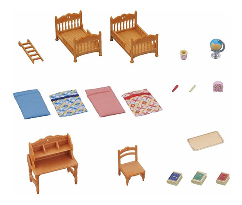 sylvanian families conjunto quarto infantil 5338  - epoch