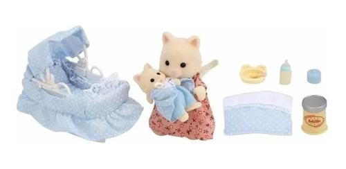 sylvanian families mama y bebe gato + accesorios 4333