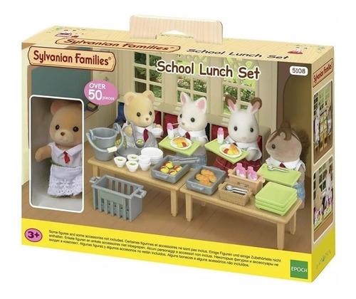 sylvanian families set de almuerzo escolar con figura 5108