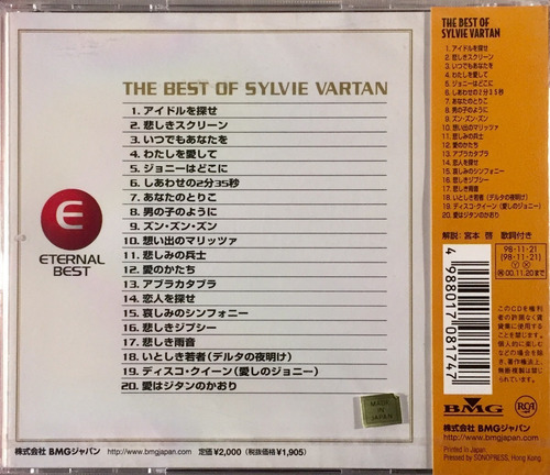 sylvie vartan - the best of - cd importado japan lacrado
